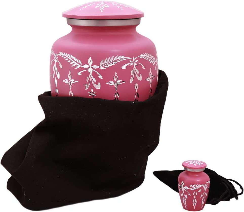 Pink Cremation Urn Perfect Size For Adults Diamond Cut Design A Lasting Tribute to Your Loved One Handcrafted Large Funeral Ash Urn for Human Ashes Free Keepsake Mini Urn /& Velvet Bag