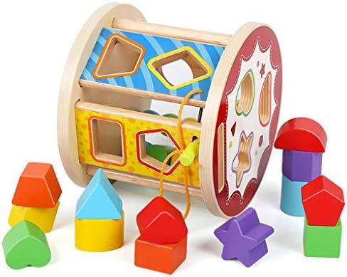 3歳以上の男の子と女の子のための幾何学スタッキングゲームギフトの木製ソーターキューブ玩具形状 (色 : Multi-colored)