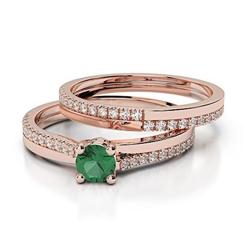 Or Rose 18carats 0.25CT G-H/VS sertie de diamants ronds découpé Émeraude et de mariage Bague de fiançailles et ensemble de Agdr-1060