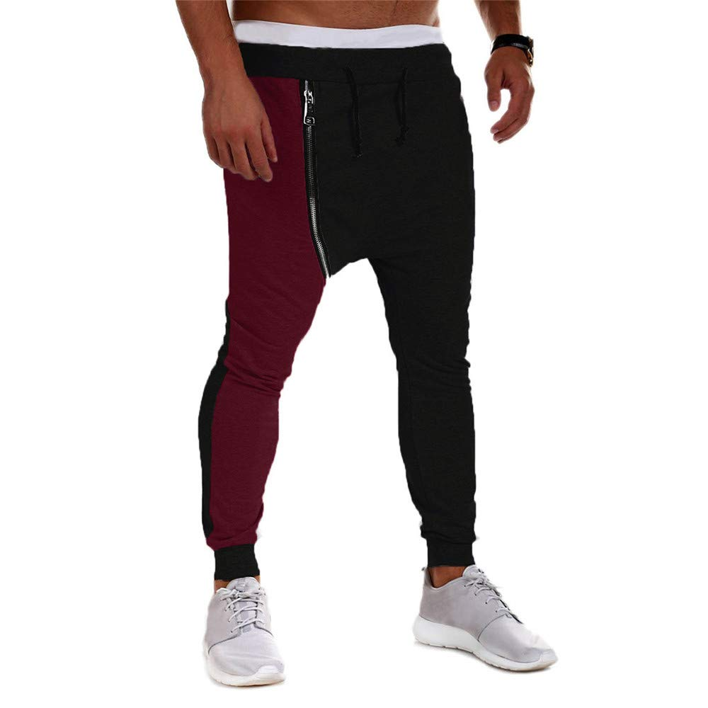 PASATO Clearace Sale! Men's Casual Autumn Winter Cotton Zipper Hip Hop Trousers Joggers Harem Pants(Black, M) by PASATO (Image #3)