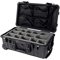 Pelican 1510 Case with GREY padded dividers and Pelican 1519 Lid organizer.