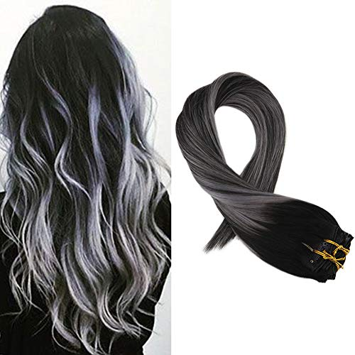 Mosoo 18 inch Clip in Hair Extensions Remi Human Hair 120g Medium Length Straight Color #1B with Sliver Grey Double Weft Clip in Human Hair Extensions Clip in Extensions 7 Pieces 120g