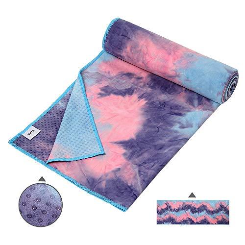Suede Microfiber Non Slip Hot Yoga Towel - Silicone Dots Antiskid Absorbent 72 x 24inch Yoga Mat Towel, Washable Flow Pilates Towel, Grip Fit Bikram Yoga Towel