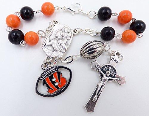 (Single Decade St. Christopher Sports Team Auto Rosary - Cincinnati Pro Football Catholic Rosary Beads)