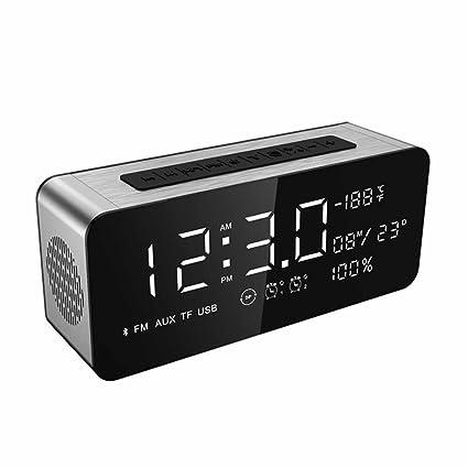 D&D DD Reloj Despertador De Audio De Pantalla Grande Bluetooth, Altavoz Inalámbrico Subwoofer Portátil,