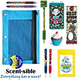 Kids Themed Stationary Accessories-Pencils, Pens, Erasers & 1 Secret Surprise Sack (TM) - Unique Back to School Supplies, Stocking Stuffers, Easter Basket Fillers (ScentSible - Sky Blue Pouch)