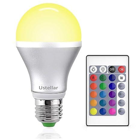 Bombillas LED Ustellar RGB E27, bombillas de luz LED que cambian de color, intensidad