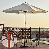 UBRTools Adjustable 10FT Wooden Umbrella Wood Pole Outdoor Patio Garden Sun Shade Beige Review