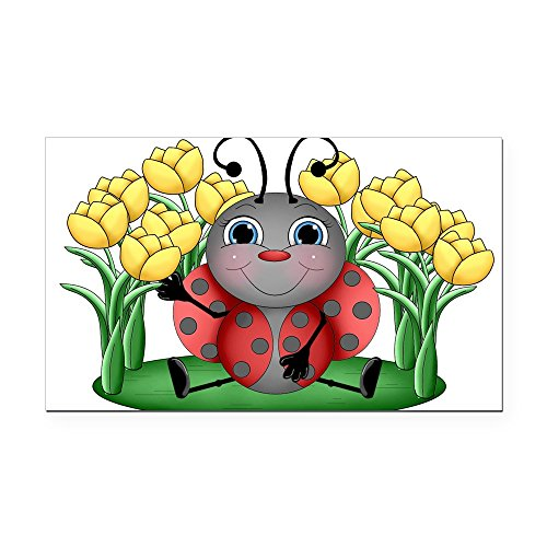 Rectangle Advertising Magnets (CafePress - Ladybugs and Flowers Rectangle Car Magnet - Rectangle Car Magnet, Magnetic Bumper Sticker)