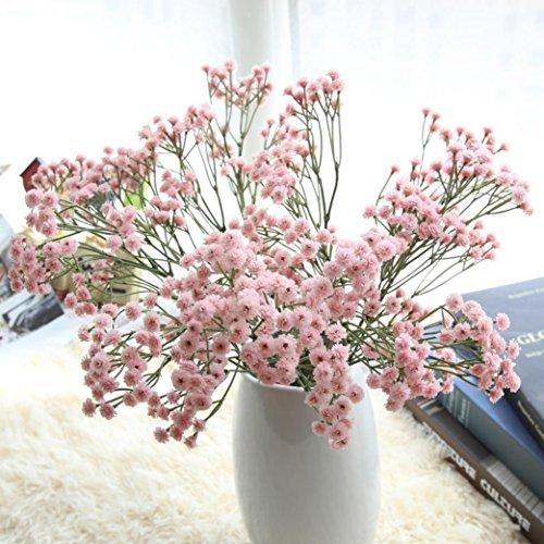 YJYdada Artificial Silk Fake Flowers Babys Breath Floral Wedding Bouquet Party Decors (Pink)