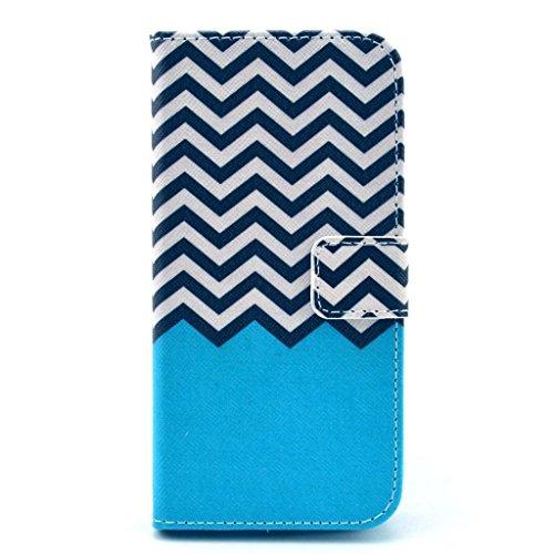 PowerQ [ para Samsung Galaxy S5 I9600 - X-8 ] PU Funda Serie bolsa Modelo colorido con bonito hermoso patrón de impresión Impresión Dibujo monedero de la cartera de la cubierta móvil del bolso del tel X-19
