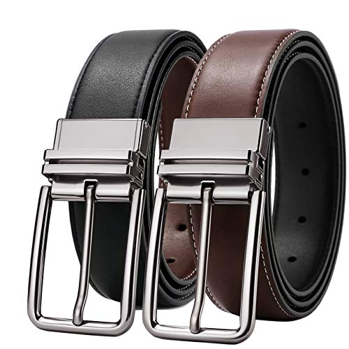 Mens Belts,Belts of Men Reversible Leather Dress Business Casual Belts Brown Black Rotated Silver Buckle 38 Belt 35&36 Waist Size SOPONDER