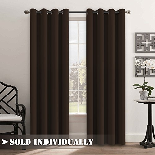 FlamingoP Room Darkening Thermal Insulated Blackout Grommet Window Curtain For Living Dark Brown 52x84 Inch 1 Panel