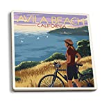 Lantern Press Avila Beach, California - Woman with Bicycle on Ocean Hillside Scene (Set of 4 Ceramic Coasters - Cork-Backed, Absorbent)