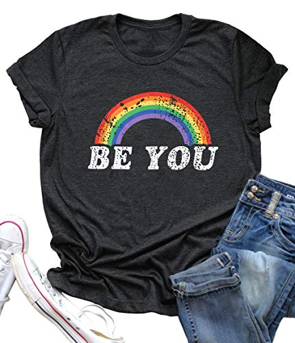 BANGELY Be You Gay Pride T Shirt LGBT Rainbow Tees for Women Summer Casual Vacation Shirts Letter Print Short Sleeve Lesbian Tops Size S (Grey) -
