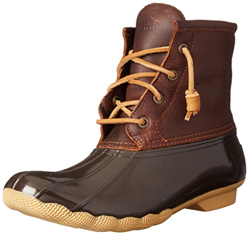 Sperry Women's Saltwater Rain Boot, Tan/Dark Brown, 7.5 M US (Snow Winter Lace Boots)