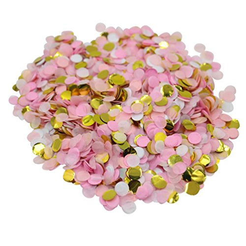 Mybbshower Pink White Gold Wedding Confetti Baby Shower Decorations Party Table Scatters 2/5 Inch