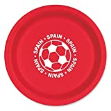 Club Pack of 96 Red and White Disposable ''Spain'' Soccer Ball Paper Party Dinner Plates 9''