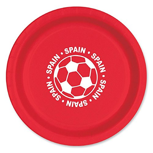 Club Pack of 96 Red and White Disposable ''Spain'' Soccer Ball Paper Party Dinner Plates 9'' by Party Central