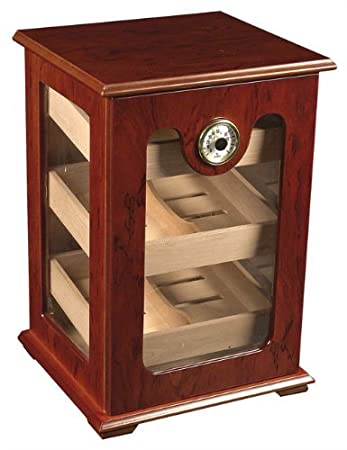 150 ct CIGAR HUMIDOR - BURL WOOD GREAT DISPLAY SHOW CASE OEM Humidor 0412 Burl Wood