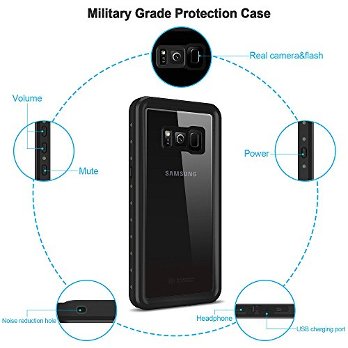 Samsung Galaxy S8 Waterproof Case,HTOCINQ IP68 Certified Transparent-back Shockproof Protective Full Body Cover SnowProof, DustProof Case for Samsung Galaxy S8(5.8 inches)
