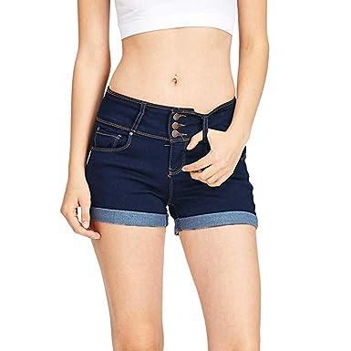 Pantalones Cortos Mujer Tejanos ❤️ Absolute Mini Pantalones Cortos de Mujer sólidos Pantalones Cortos de Talle bajo para Mujer Pantalones Cortos de ...