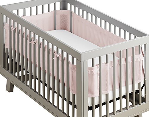 BreathableBaby | Deluxe Breathable Mesh Crib Liner | Doctor Endorsed | Helps Prevent Arms and Legs from Getting Stuck Between Crib Slats | Independently Tested for Safety | Blush Ruffle