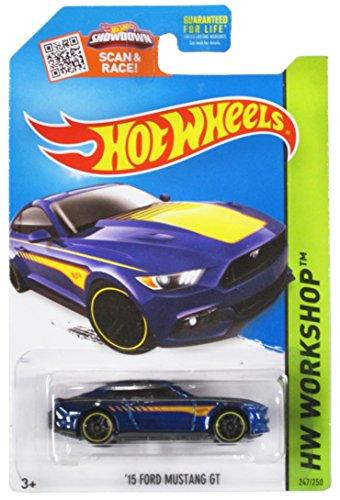 Hot Wheels, 2015 HW Workshop, '15 Ford Mustang GT [Blue] Die-Cast Vehicle - Blue Mustang