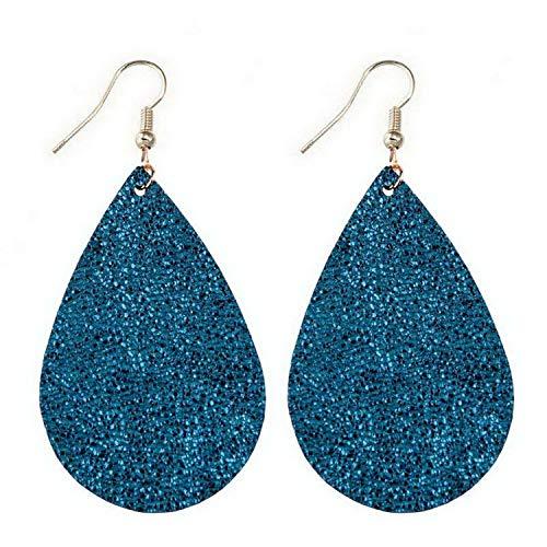 MingDe Sports Leather Earrings Fashion Teardrop Earrings for Women Jewelry Black Earrings (Gold Rectangle Yellow Ring Baby)