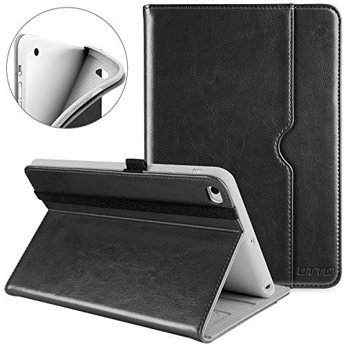 DTTO iPad Mini 4 Case, Premium Leather Folio Stand Cover Case with Multi-Angle Viewing and Auto Wake-Sleep Function, Front Pocket for Apple iPad Mini 4 - Black