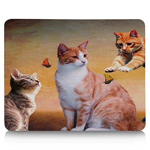 Gaming Mouse Pad Custom Funny Animal Scene Design - Cat Swoops Butterfly Mouse Mat 10 x 9 in Ergonomic Gel Mousepad for Office/Computer/Laptop, Non-Slip Rubber Base,