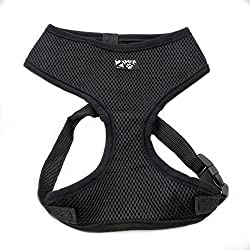 2PET Soft mesh Harness neck opening. Breathable, adjustable, easy to wear, comfortable, no pull harness. Ebony Black Medium
