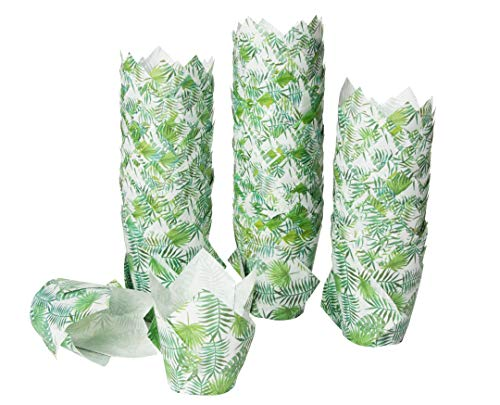 Tulip Cupcake Liners - 300-Pack Medium Baking Cups, Palm Leaf Design Muffin Wrappers, Perfect for Tropical Hawaiian Themed Birthday Parties, Weddings, Baby Showers, Tiki Luau Parties