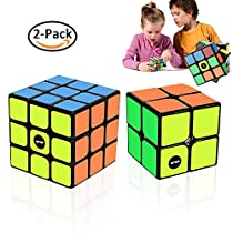 WTOR Cube 2Pack Toys Game Newest 3x3 Magic Speed Cube and 2x2 Magic Cube -Durable Cubes with Vivid Colors 3D Puzzle the Best Brain Training Game Gift Set for Kids/Adults