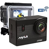Anytek AT100 4K WiFi Action Camera 16MP 2 Inch LCD Screen Sports Cam Waterproof Diving Camcorder 170° Wide Angle Lens with 1350mAh Battery and Accessories Kit (32GB Micro SD Card Included)