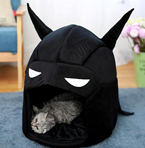 Enzhe Pet Design Incantevole Rimovibile e Lavabile Fumetto Batman Warm Dog House Pet Nest Cat Bed nero