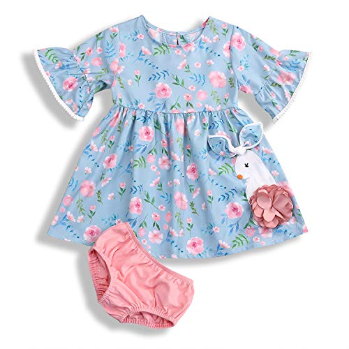 (Little Girls Easter Outfits Short Sleeve Bunny Embroidery Dress + Pink Panties Clothes Sets 2Pcs (Blue, 2-3T))