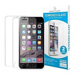 Cristal templado iPhone 7 - protector pantalla (2 unidades) ultrafino (0.33mm), ultraresistente (9H) con kit de instalación sin burbujas de Power Theory