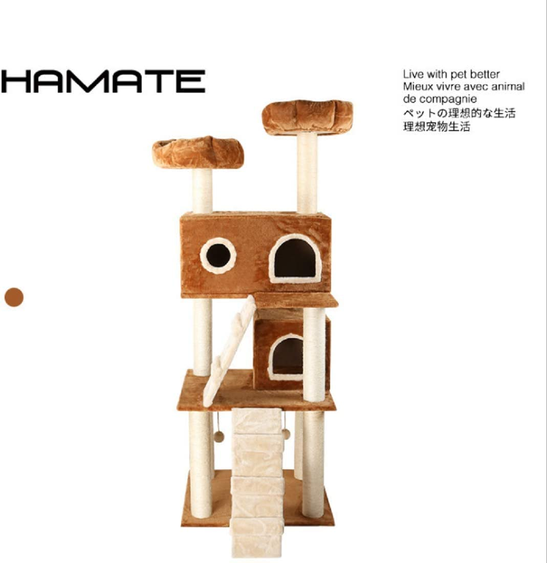 HAMATE 172CM Luxury Cat Scratching Post Large Climbing Frame for Cat KitternToys House Multi-Functional Cat Tree Board Condo Furniture