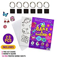 Rainmae 181pcs Heat Shrink Plastic Sheets Pack Shrinky Art Crafts Set Include 25 PCS Blank Shrinky Art Film Paper with 155pcs Keychains Accessories for DIY Ornaments or Creative Craft