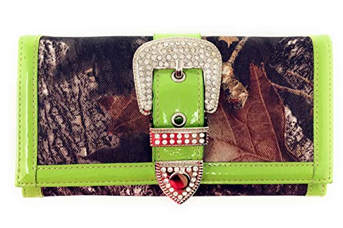 Wallet Style Concho Colors Shoulder in Handbag Purse Camouflage 5 New Rhinestone Buckle with Green Matching CSvSq