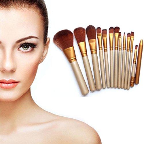 Lookatool Pro Makeup 12pcs Brushes Set Powder Foundation Eyeshadow Eyeliner Lip Brush Tool