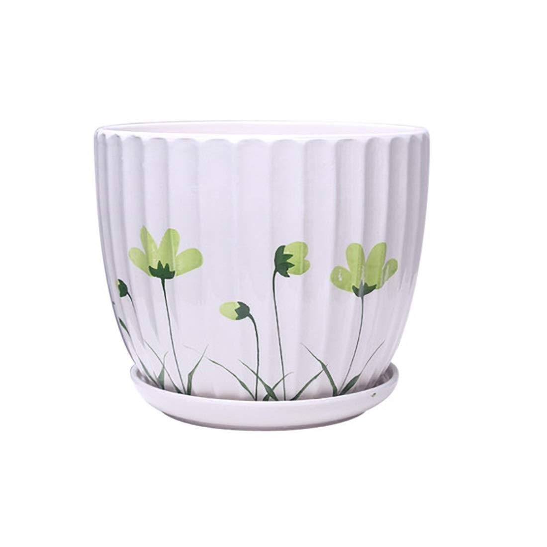 Zhi lian® 2つの大きなセラミックフラワーポットホーム屋内と屋外の植物ポットを植えるシンプルなファッション通気性花鉢 (色 : A)  A B07MDY6KRZ