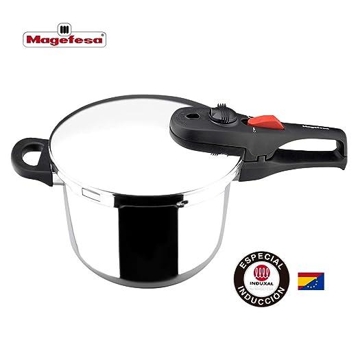 MAGEFESA PRACTIKA PLUS Olla a presión super rápida de fácil uso, acero inoxidable 18/10, apta para todo tipo de cocinas, incluido inducción. Fondo ...