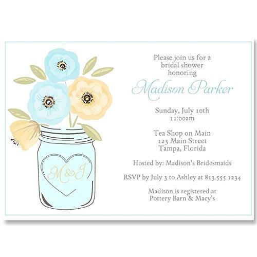 Amazon Bridal Shower Invitations Mason Jar Blue Yellow