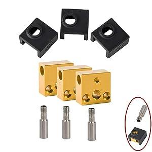 Creality 3D Printer Silicone Socks/Aluminum Heater Block/Stainless Steel Throat for MK7 MK8 Extruder Kits Ender 3/Ender 3 Pro/Creality CR-10 /CR10S /S4 /S5 (3 Packs)