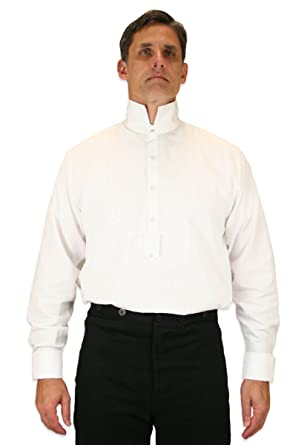 0a0138b8887d0 Historical Emporium Men s French Cuff Victorian High Collar Stud  Convertible Dress Shirt S White