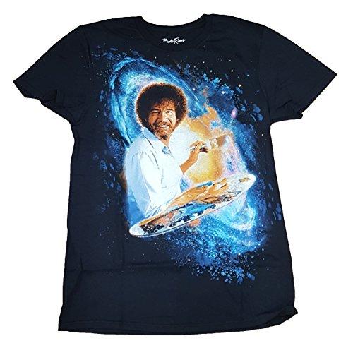Bob Ross Galaxy Painting Graphic T-Shirt  - Large, Black