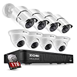ZOSI 720p HD-TVI 8 Channel Security Camera System,1080N Surveillance DVR Recorder with Hard Drive 1TB and (8) HD 1280TVL Outdoor/Indoor Weatherproof CCTV Cameras,Remote Access and Motion Detection For Sale