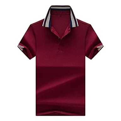 Zfadds Summer Short Sleeve Polo S Solid Color Business Polo Shirts